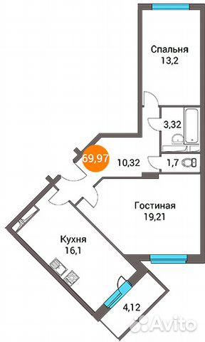 Продается двухкомнатная квартира за 3 772 450 рублей. Правдинский, посёлок городского типа Зеленоградский, Пушкинский район, Московская область, улица Зелёный Город, 3.