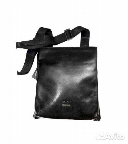 525aa9eebbbf Мужская кожаная сумка -H. Boss- black планшет купить в Москве на ...