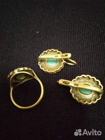 Серьги и кольцо бирюза с фианитами. Серебро 89284695912 купить 2