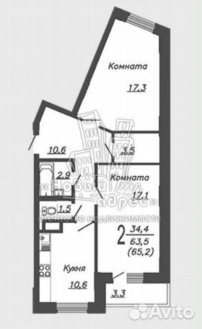 2-к квартира, 65.2 м², 15/17 эт. 89587362588 купить 6