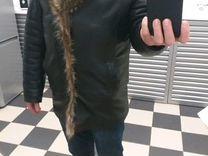 Зимняя куртка кожа с волком