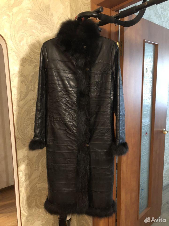 Пальто кожаное, р.44  89235002111 купить 1