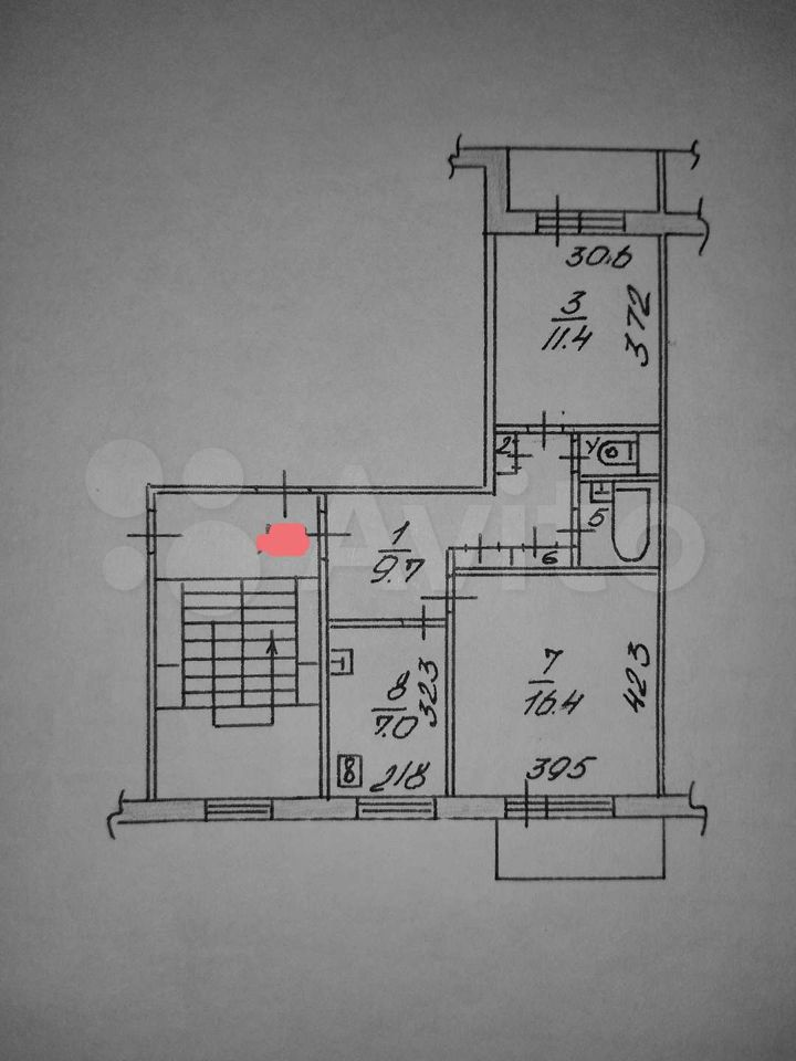 2-room apartment, 50 m2, 3/5 floor.  89098139167 buy 1